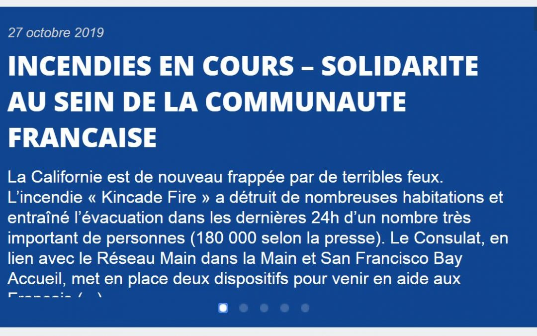 Kincade Fire – French Consulate in San Francisco update (in French)