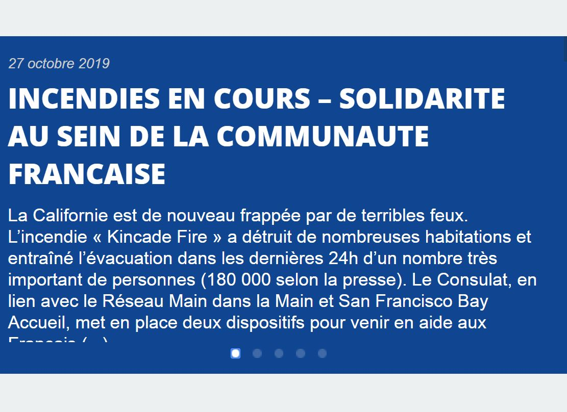 Kincade Fire – Message du Consulat de France à San Francisco
