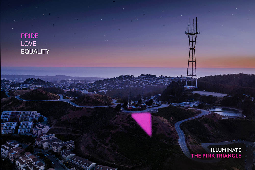 Pink Triangle – 2700 LEDs atop Twin Peaks