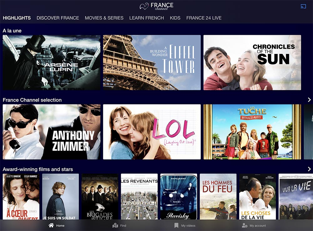 france channel catalogue
